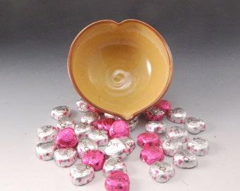 Handmade Heart Shaped Yellow and  Brown Stoneware Bowl
