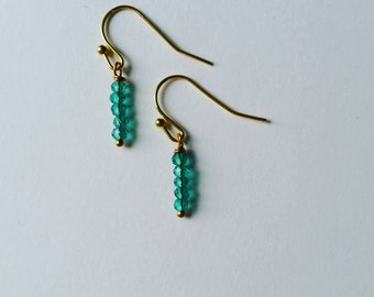 Gold and Teal Earrings