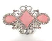 SUMMER SALE-Vintage Catherine Popesco Art Deco Style Signed Pink Enamel Designer Brooch-Made In France