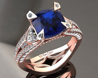Blue Sapphire Engagement Ring Blue Sapphire Ring 14k or 18k Rose Gold Matching Wedding Band Available W31BUR