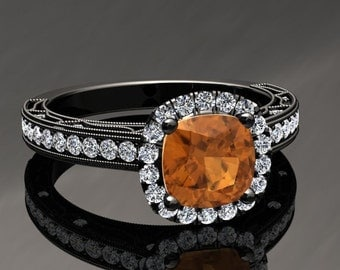Citrine Halo Engagement Ring Cushion Cut Citrine Ring 14k or 18k Black Gold Matching Wedding Band Available SW11CITRBK