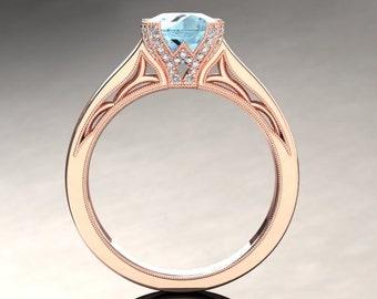 Aquamarine Engagement Ring Aquamarine Ring 14k or 18k Rose Gold Matching Wedding Band Available SW3AQUAR