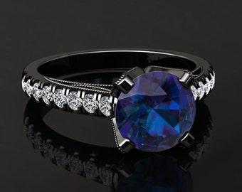 Alexandrite Engagement Ring Alexandrite Ring 14k or 18k Black Gold Matching Wedding Band Available W4ALEXBK