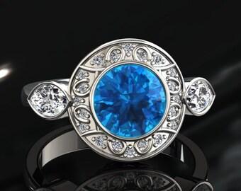 Blue Topaz Halo Engagement Ring Blue Topaz Ring 14k or 18k White Gold W19BU2W