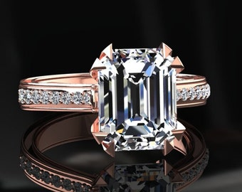 Moissanite Ring 1.60 Carat Forever One Emerald Cut Moissanite Engagement Ring 14k or 18k Rose Gold. Matching Wedding Band Available W13MOISR