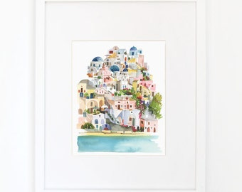 Santorini - Watercolor Art Print