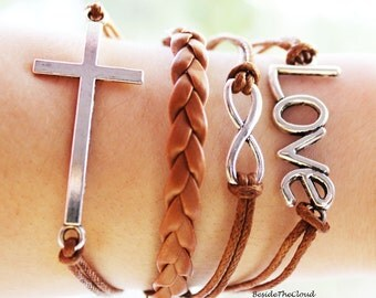 Cross Bracelet Leather Friendship Bracelet Charm Bracelet Wrap Personalized Jewelry Love Infinity Bracelet Cross Jewelry Gift for her