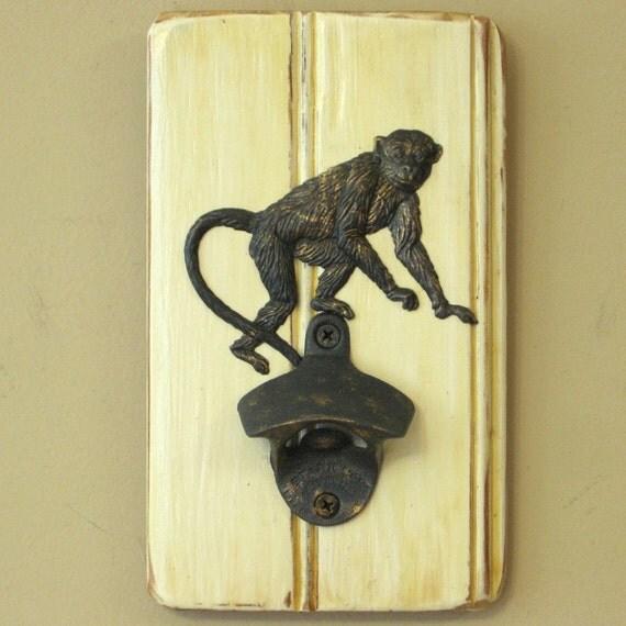 Wall mounted monkey bottle opener with optional cap catcher - Wall mounted bottle opener cap catcher ...
