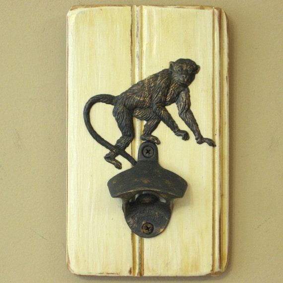 Wall Mounted Monkey Bottle Opener With Optional Cap Catcher
