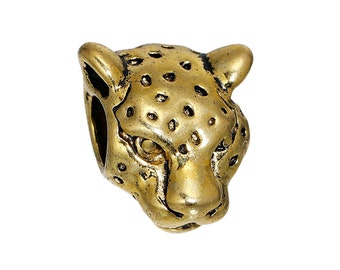 2 BEADS Large Hole Leopard  Beads Gold Tone Leopard Face About 13mm x 12mm, Hole: Approx 4.3mm,