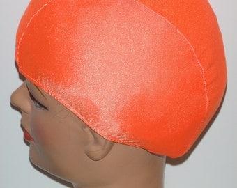 Neon Orange Lycra Swim Cap