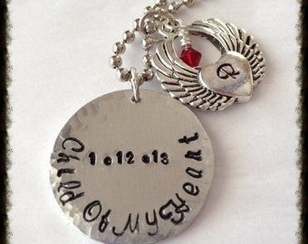 Hand Stamped Adoption New Mom Necklace