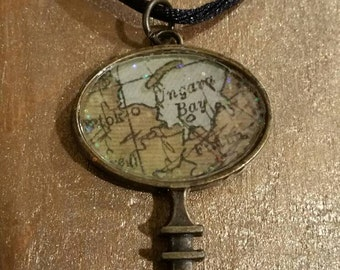 Steampunk Antique Bronze Skeleton Key Pendant with an Old Map image & Glitter