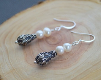 White Freshwater and Sterling Silver Earrings- White Pearl Earrings- Pearl Earrings