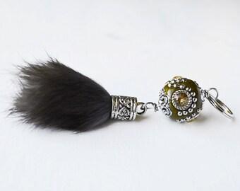 Rabbit Fur Pom Pom Keychain // Bohemian Chic Keychain