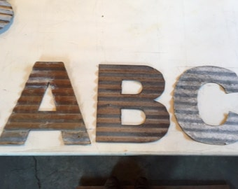 12 inch Old Corrugated barn tin letters