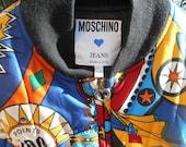 RARE Collector Vintage Moschino Jacket Multicolored Pinball Pattern Medium