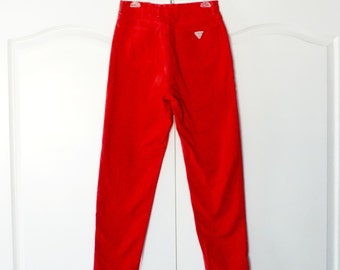 Vintage Guess Jeans 80's Red High Waist skinny Ankle Denim Jeans Size 32