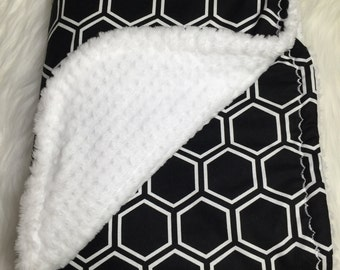 Minky Blanket Boy - Black and White - Minky Blanket - Honeycomb Shapes
