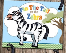 DIY Pin the tail on the zebra party game