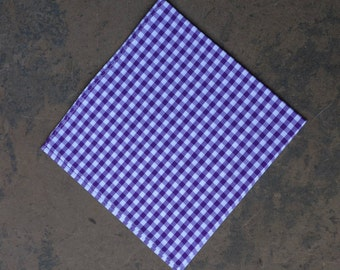 Purple Gingham Pocket Square