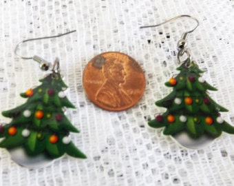 Christmas earrings Christmas tree earrings Holiday tree earrings