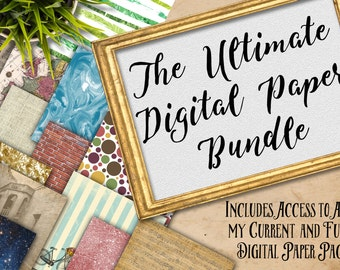 50% OFF SALE-Digital Scrapbook Paper Bundle - Includes All of my Current Digital Paper Designs AND Future Designs - 12inx12in-Commercial Use