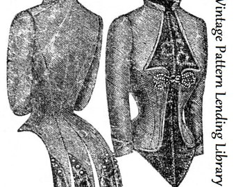 1887 Ladies Basque Jacket - Reproduction Sewing Pattern #E2055
