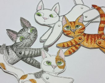 Cat Animal Paper Dolls Puppets Patterns Articulated Mechanical Animals Printable Animal Digital Downloadable Cats 0098