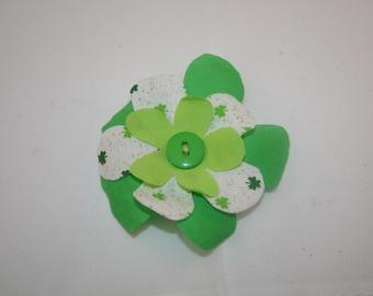 Green Fabric Flower Hair Clip