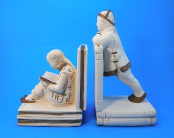 Vintage Asian Bookends Oriental Boy And Girl Figurines On Books Bookends White And Gold Chalkware Plaster Japanese Or Chinese Bookends