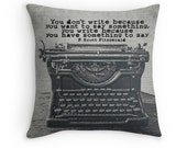 Typewriter Photo Pillow Cover, Vintage Typewriter Decor, F Scott Fitzgerald Typography, Gift for Writers, Office Decor, Quote English
