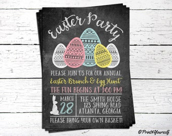 Easter Party Invite // Personalized Printable Chalkboard Easter Party Invitation // Easter Invitation // Egg Hunt Invite