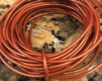 1.5 copper metallic leather cord, copper leather, metallic leather, 12 feet