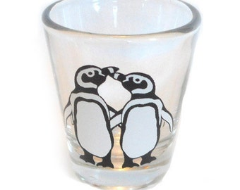 Penguin Couple Shot Glass