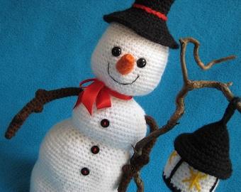 Snowman with Lantern Amigurumi Christmas Winter Decor Toy Doll PDF Crochet Pattern