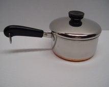 1 Quart Revere Ware Saucepan, Copper Clad, Stainless Steel