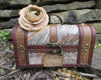 Small Vintage Style Travel Wedding Wishes Trunk, Wedding Card Holder, Card Box, Money Holder, Money Box,Wedding Suitcase, Rustic Wedding Box