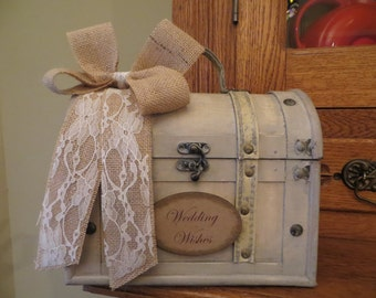Small Shabby Chic Wedding Wishes Trunk, Wedding Advice Box, Guest Book Alternative, Wedding Wishing Well, Wedding keepsake box, wedding gift