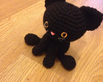 Crocheted Black Cat Amigurumi Soft Toy