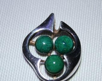 A Silver Malachite Pendant