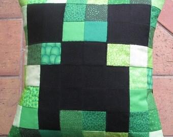 "Minecraft Creeper cushion cover 14"" x 14"""