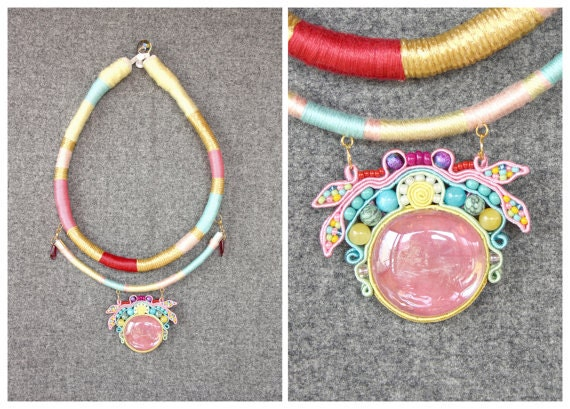 Modern Masai Necklace COLOURFUL with soutache, HANDICRAFT, One of 5  to choose