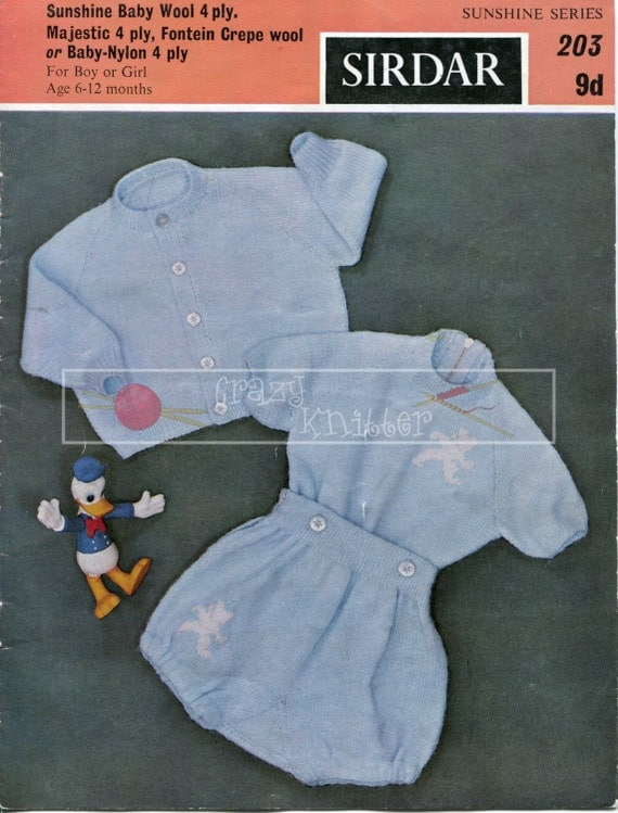 Baby Play Suit 6-12 months 4-ply Sirdar 203 Vintage Knitting Pattern PDF instant download