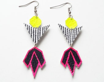 Leather Earrings - Geometric Earrings - Statement Earrings - Statement Jewellery - Drop Earrings - Gift For Her - Neon Earrings