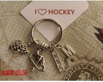 Personalized We're Number One Hockey Keychain USA