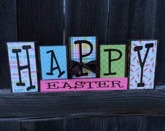 Happy Easter wood blocks--happy easter