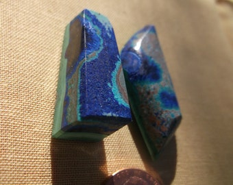 Beautiful Banded Azurite/Malachite Cabochons (with eyes) from Open Pit of Morenci, Arizona