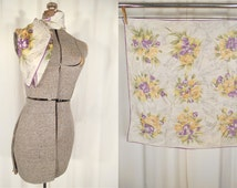 Vintage 1940s Scarf - Purple Yellow Extra Large Floral 40s Scarf, Square Rayon XL Rain Scarf