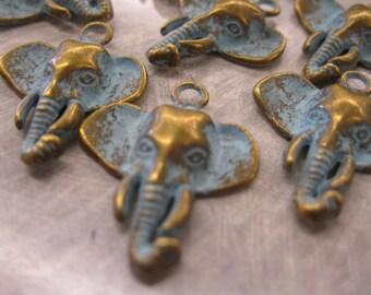 Brass Elephant Charm/Pendant, Patina Brass Elephant Head